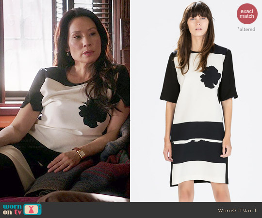Zara Printed Dress worn by Lucy Liu on Elementary