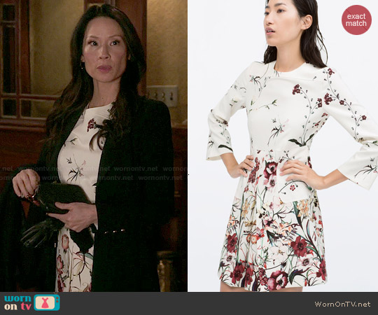 Zara Printed Front Pleat Dress with Pocket worn by Lucy Liu on Elementary