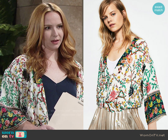 Zara Printed Kimono worn by Camryn Grimes on The Young & the Restless