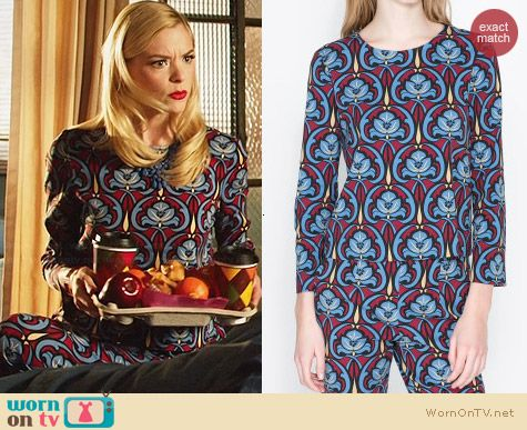 Zara Printed Top and Tousers worn by Jaime King on Hart of Dixie