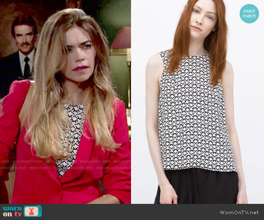Zara Printed Top worn by Amelia Heinle on The Young & the Restless