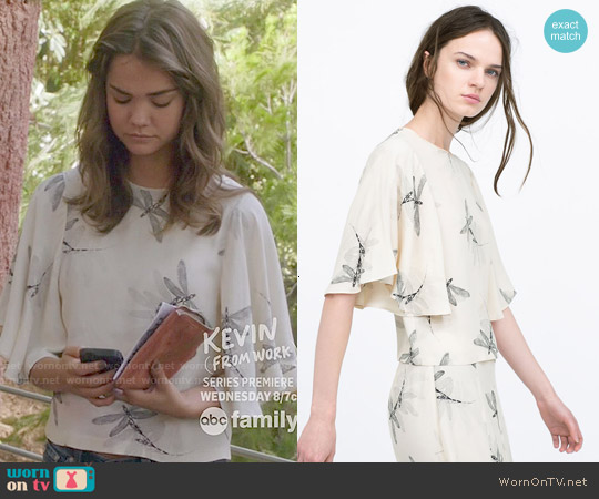 Zara Printed Top with Cape Sleeves worn by Maia Mitchell on The Fosters