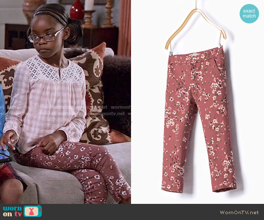 Zara Girls Printed Trousers worn by Diane Johnson on Blackish