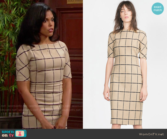 Zara Printed Tube Dress worn by Karla Mosley on The Bold & the Beautiful