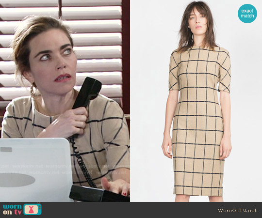 Zara Printed Tube Dress worn by Amelia Heinle on The Young & the Restless