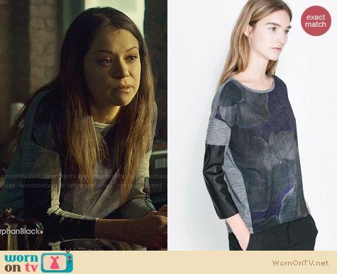 Zara Printed Wool Tshirt worn by Tatiana Maslany on Orphan Black