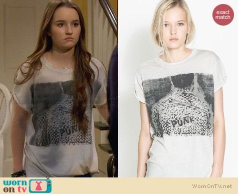 Zara Punk Design T-shirt worn by Kaitlyn Dever on Last Man Standing