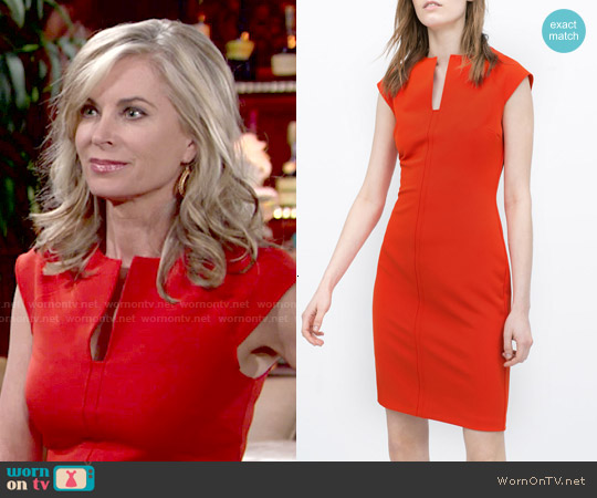 Zara Red Shift Dress worn by Eileen Davidson on The Young & the Restless