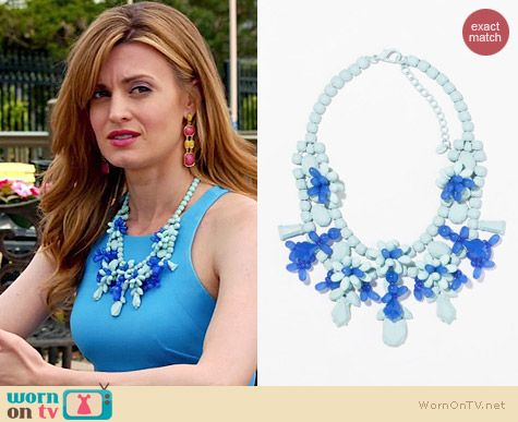 Zara Turquoise Rhinestone Necklace worn by Brooke D'Orsay on Royal Pains