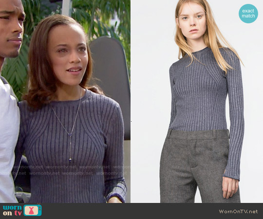 Zara Ribbed Sweater worn by Reign Edwards on The Bold & the Beautiful