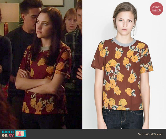 Zara Rose Print Blouse worn by Haley Ramm on Chasing Life