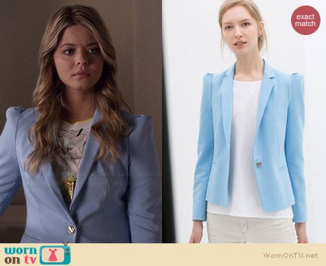 Zara Blue Blazer with Gathered Shoulders worn by Sasha Pieterse on PLL
