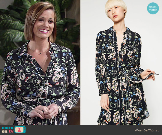 Zara Shirt Style Printed Tunic worn by Melissa Claire Egan on The Young & the Restless