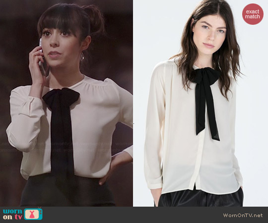 Zara Shirt with Bow Collar worn by Cristin Milioti on A to Z