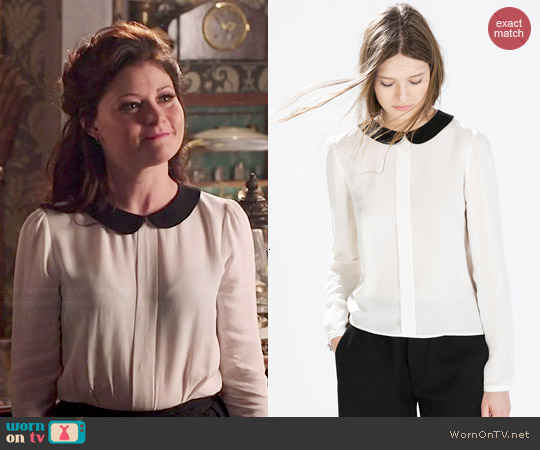 Zara Shirt with Contrasting Collar worn by Emilie de Ravin on OUAT