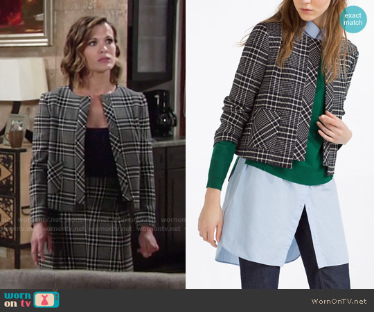 Zara Short Check Blazer worn by Melissa Claire Egan on The Young & the Restless