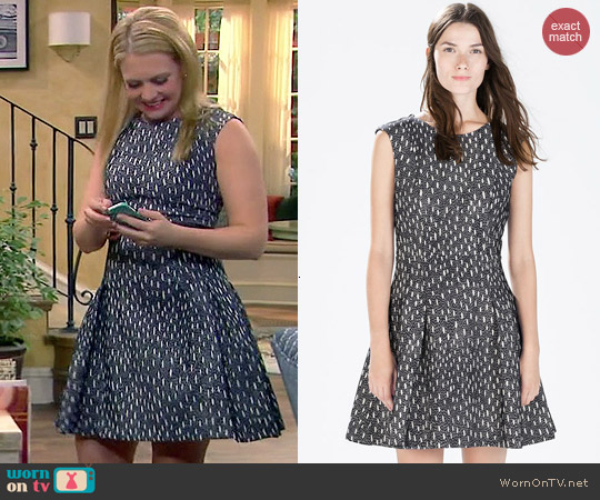 Zara Short Sleeve Jacquard Dress worn by Melissa Joan Hart on Melissa & Joey