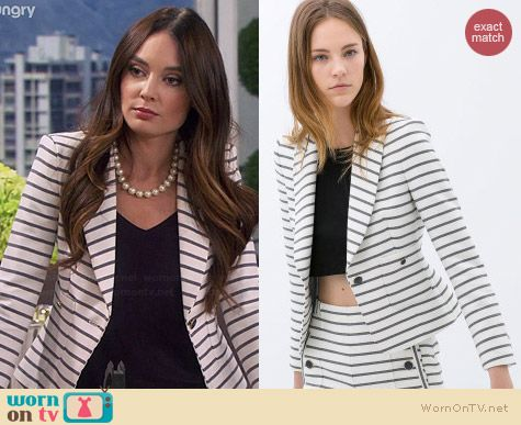 WornOnTV Carolines White Striped Blazer On Young And