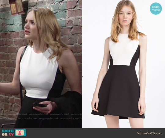 Zara Short Two Tone Dress worn by Hunter King on The Young & the Restless