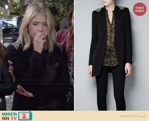 Zara Shoulder Studded Tweed Jacket worn by Ashley Benson on PLL