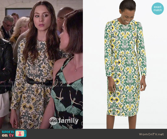 Zara Gathered Seam Dress worn by Troian Bellisario on PLL