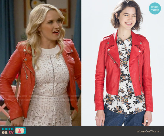Zara Red Side Gathered Leather Jacket worn by Gabi Diamond on Young & Hungry