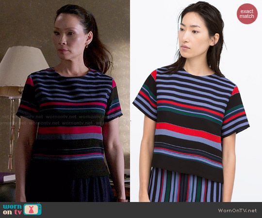 Zara Side Slit Striped Top worn by Lucy Liu on Elementary