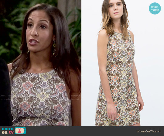 Zara Sleeveless Jacquard Dress worn by Christel Khalil on The Young & the Restless
