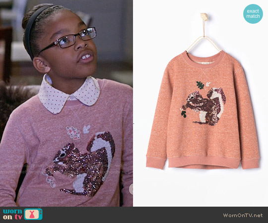Zara Squirrel Sequinned Sweatshirt worn by Marsai Martin on Blackish