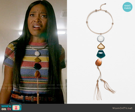 Zara Stone Choker Necklace worn by Zayday Williams on Scream Queens