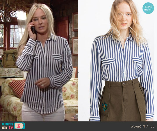 Zara Striped Blouse worn by Sharon Case on The Young & the Restless