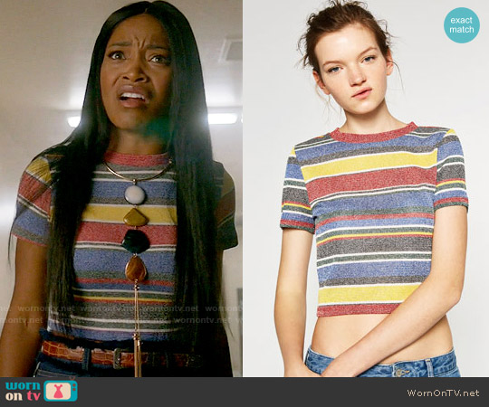 Zara Striped Crop Top worn by Keke Palmer on Scream Queens