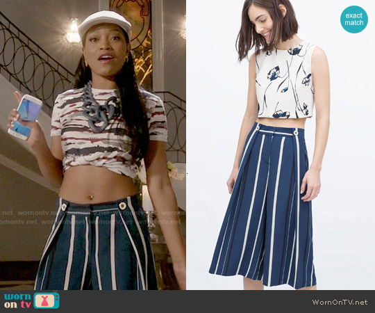 Zara Striped Culottes worn by Zayday Williams on Scream Queens