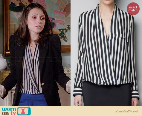 Zara Striped Wrap Blouse worn by Italia Ricci on Chasing Life