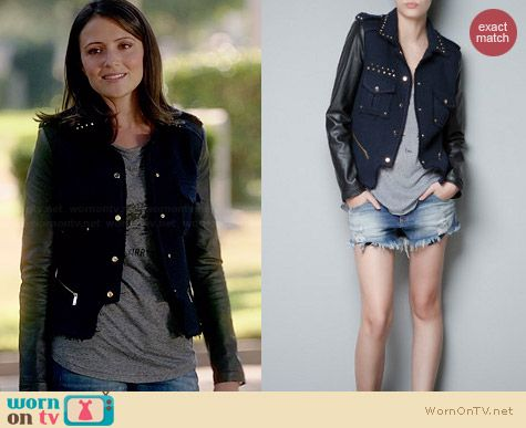 Zara Studded Boucle Jacket with Leather Sleeves worn by Italia Ricci on Chasing Life