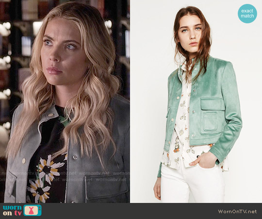 Zara Suede Effect Jacket worn by Hanna Marin on PLL