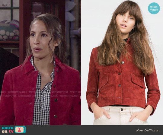Zara Suede Jacket worn by Christel Khalil on The Young & the Restless