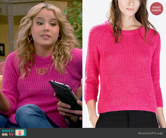 Zara Sweater with Three Quarter Length Sleeves in Fuchsia worn by Taylor Sprietler on Melissa & Joey
