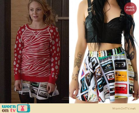 Zara Terez Cassettes Skater Skirt worn by Carrie Bradshaw on The Carrie Diaries
