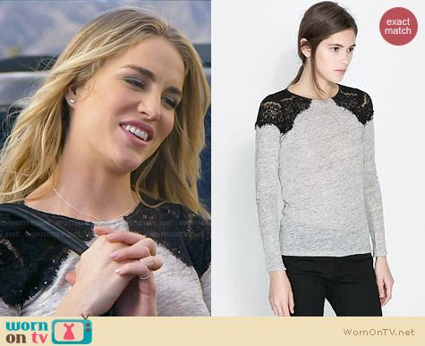 Zara Tshirt with Lace Shoulders worn by Elizabeth Whitson on Awkward
