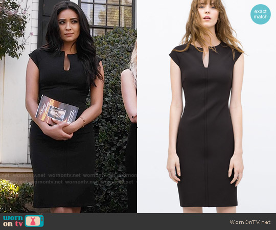 Zara Tube Dress with Raglan Sleeves worn by Shay Mitchell on PLL