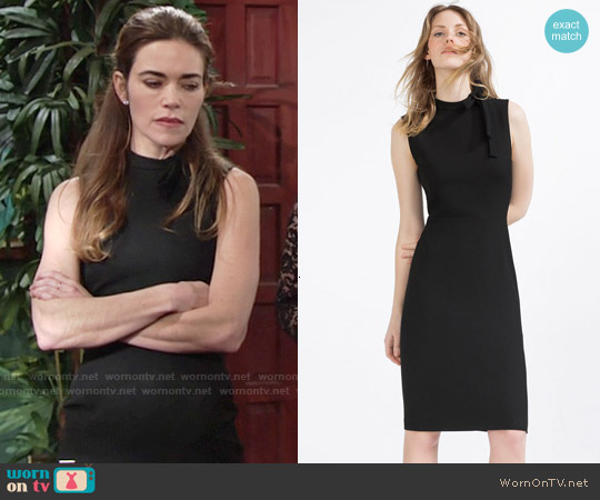 Zara Tube Dress with Tie Up Neckline worn by Amelia Heinle on The Young & the Restless