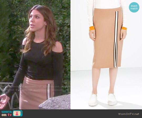 Zara Tube Skirt with Slit and Piping worn by Marci Miller on Days of our Lives