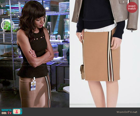 Zara Tube Skirt with Slit and Piping worn by Camille Saroyan on Bones