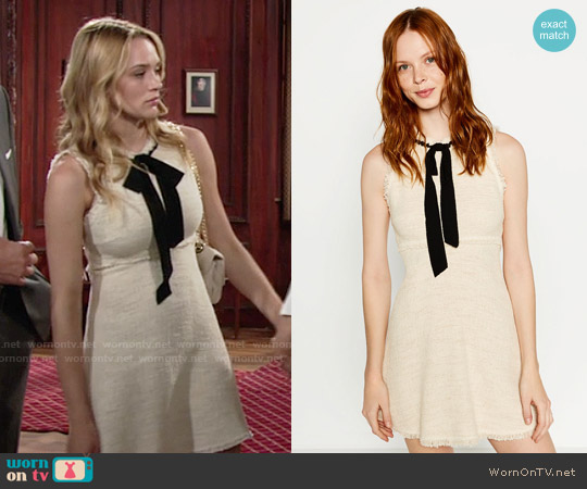 Zara Tweed Dress with Layered Skirt worn by Hunter King on The Young & the Restless