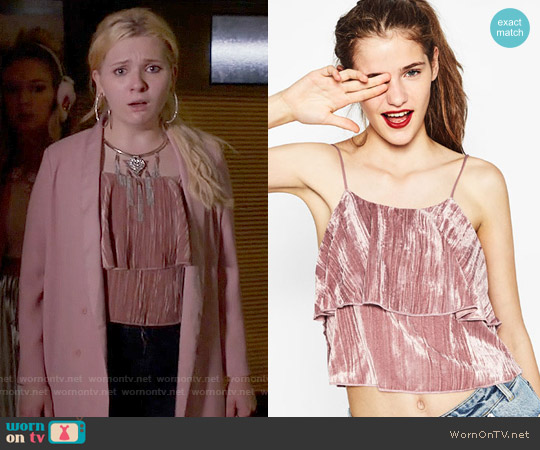 Zara Velvet Top worn by Abigail Breslin on Scream Queens