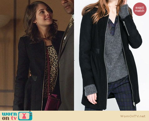 Zara Wool Coat with leather combination worn by Willa Holland on Arrow