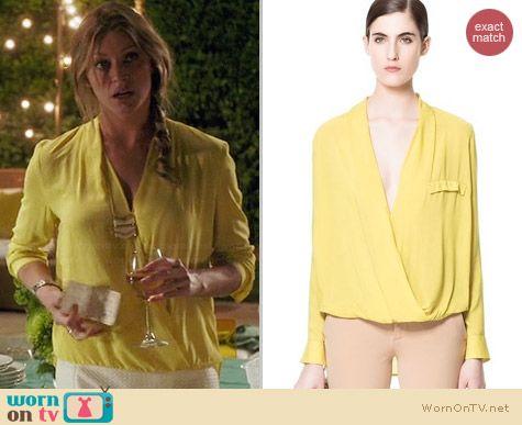 Zara Yellow Draped Blouse worn by Jess Macallan on Mistresses