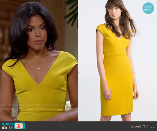 Zara Shift Dress in Lime Green worn by Karla Mosley on The Bold & the Beautiful