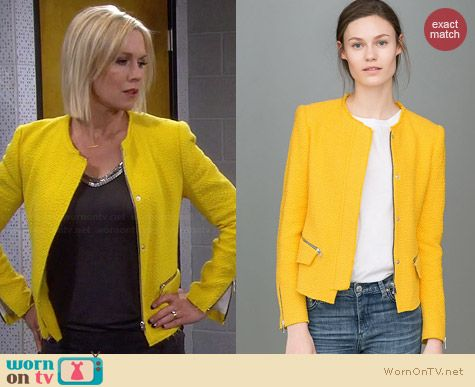 Zara Yellow Woven Fabric Jacket worn by Jennie Garth on Mystery Girls